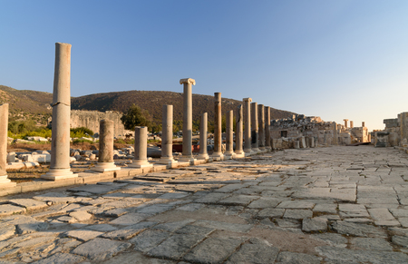 antiquity: Ruin of Main street in ancient Lycian city Patara. Antalya Province. Turkey Stock Photo