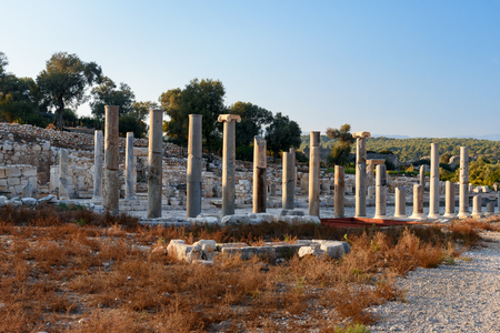 colonnaded: Columns on Main street in ancient Lycian city Patara. Antalya Province. Turkey