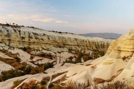 geological formation: White Rock in Love valley on sunset. Cappadocia. Nevsehir Province. Turkey