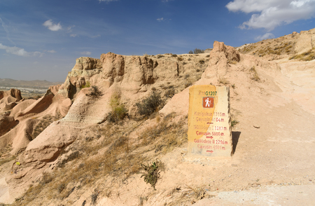 geological formation: Signpost on hiking trail. Red valley. Cappadocia. Nevsehir Province. Turkey