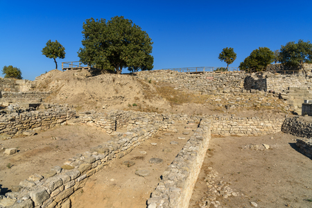 trojan: Ruin of Sanctuary in ancient city Troy. Canakkale Province. Turkey