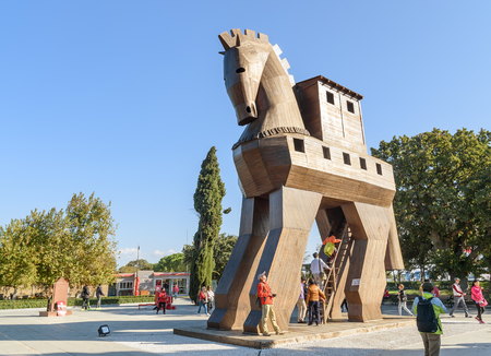 Canakkale, Turkey - October 30, 2016: Replica of wooden Trojan horse in ancient city Troy. It is tale from the Trojan War about the subterfuge