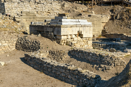 Ruin of Sanctuary in ancient city Troy. Canakkale Province. Turkey