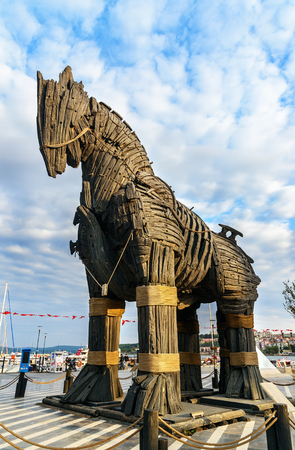 Canakkale, Turkey - October 31, 2016: Wooden Trojan Horse from movie Troy. It was donated to the city of Canakkale