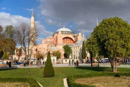 Istanbul, Turkey - November 01, 2016: View on Hagia Sophia on Sultanahmet square in Istanbul Editorial