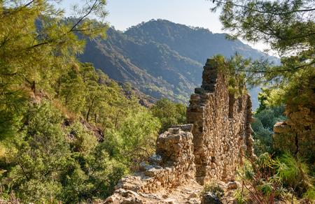 Ruins of temple of Hephaestus on Chimaera Mount. Turkey Stock Photo