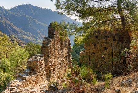 gas fireplace: Ruins of temple of Hephaestus on Chimaera Mount. Turkey Stock Photo