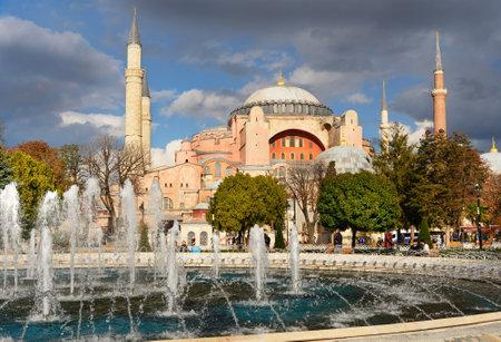 Istanbul, Turkey - November 01, 2016: Fountain and Hagia Sophia on Sultanahmet square in Istanbul Editorial