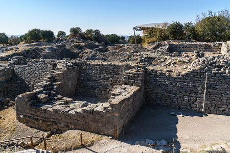 Ruins of The East wall and gate in ancient city Troy. Canakkale Province. Turkey
