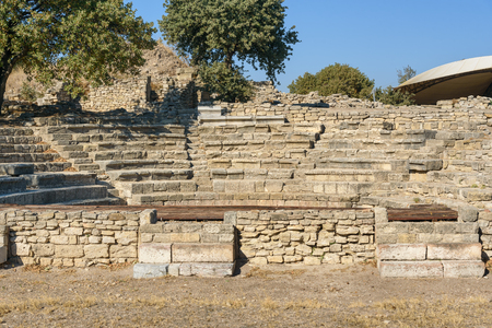 Ruins of Odeion and Bouleuterion in ancient city Troy. Canakkale Province. Turkey