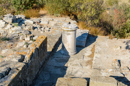 Ruin of Northeast Bastion in ancient city Troy. Canakkale Province. Turkey