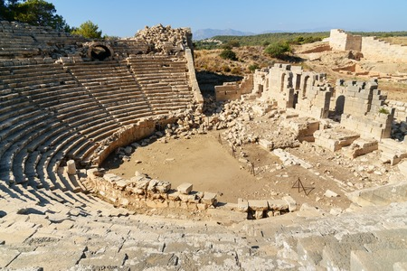 Ruin of amphitheater in ancient Lycian city Patara. Antalya Province. Turkey