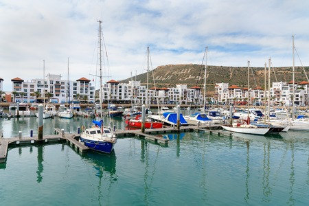 Agadir. Morocco - December 23, 2016: View of Boats at Marina harbour