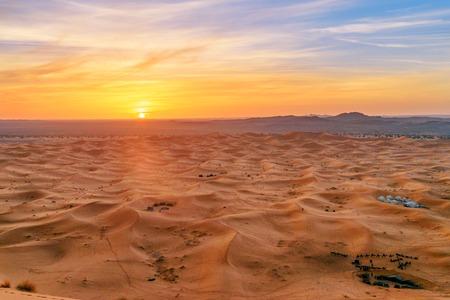 Sunrise in Erg Chebbi Sand dunes in Sahara Desert near Merzouga, Morocco