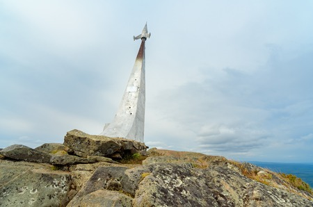 Stella rocket on a rock in honor of Gagarins flight. Established in 1961 on mountain Kachkanar. Sverdlovsk region. The Urals. Russia
