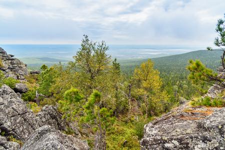 ural: View of rocks on mountain Kachkanar. Sverdlovsk region. The Urals. Russia