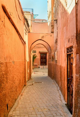 On the narrow street in medina at Marrakesh. Morocco Stock Photo