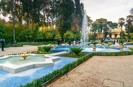 Fez, Marokko - 14 januari 2017: Jardin Jnan Sbil, Royal Garden. Tuinen Jinan werd in de 18e eeuw gesticht door Sultan Moulay Abdellah