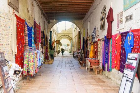 Essaouira, Morocco - January 01, 2017: Street market in the medina of Essaouira Editorial