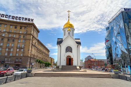 Novosibirsk, Russia - June 29, 2017: Chapel of St. Nicholas on the center of city