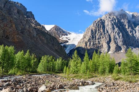 View on Aktru river, Karatash peak and Aktru glacier. Altai Republic, Siberia. Russia