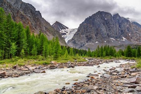 View on Aktru river and Karatash peak. Altai Republic, Siberia. Russia Stock Photo