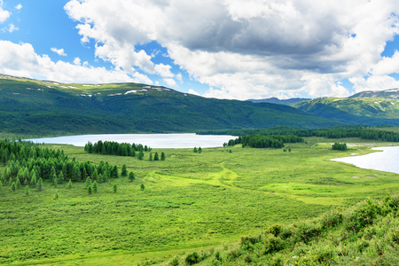 Ulagan lakes in valley on plateau. Altai Republic. Russia