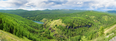 Panorama view on Ukchol lake. Ulagan. Altai Republic, Siberia. Russia