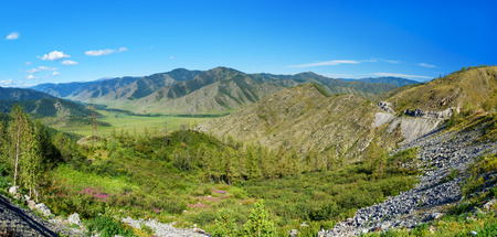 Panorama view of the valley from Mountain pass Chike-Taman. Altai Republic, Siberia. Russia
