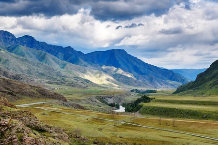 View on Chuya river in mountains along Chuysky Trakt. Altai Republic, Siberia. Russia