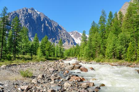 View of Aktru river valley. Altai Republic, Siberia. Russia Stock Photo