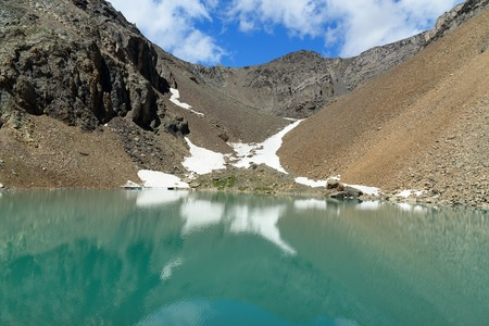 Blue Lake on mountain in Aktru valley. Lake located at an altitude of 2840 m. North-Chuiskiy Range. Altai Republic, Siberia. Russia Stock Photo
