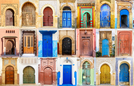 Collage of Traditional Moroccan entry door 版權商用圖片