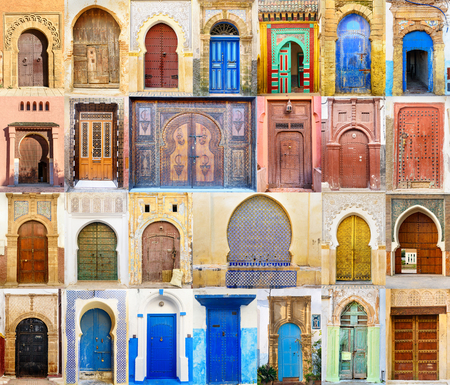 Collage of Traditional Moroccan entry door 스톡 콘텐츠