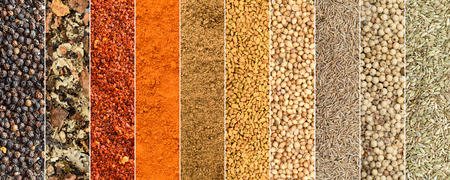 Collage of different herbs and spices background