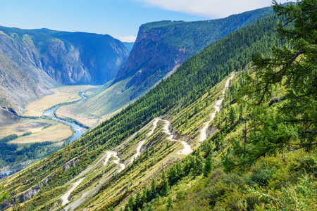 View on Pass Katu-Yaryk and Valley of Chulyshman river. Altai Republic, Siberia. Russia