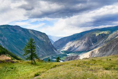 View on valley of Chulyshman river from pass Katu-Yaryk. Altai Republic, Siberia. Russia