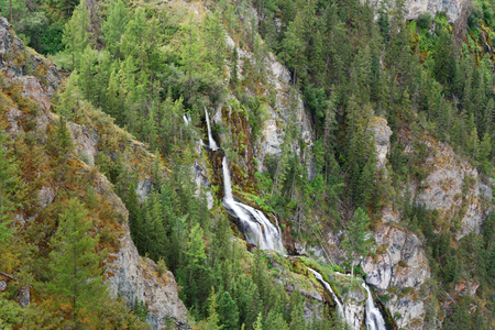 View on Waterfall on the river Karasu left in Valley of Chulyshman river. Altai Republic, Siberia. Russia Stock Photo