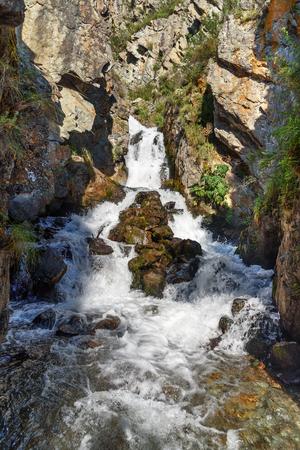 Waterfalls Beltertuyuk near village Kuyus. Altai Republic, Siberia. Russia Stock Photo