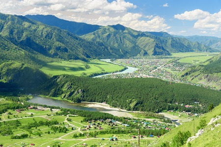 View of Chemal village, Katun river and Chemal river from mountain Camel. Altai Republic, Siberia. Russia