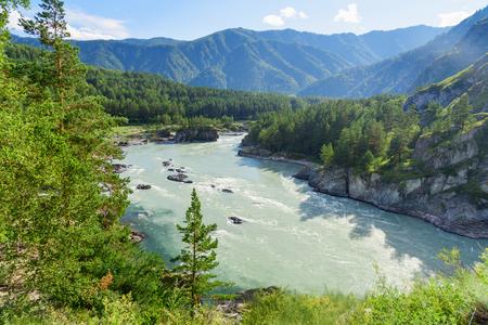 View of Katun river near Chemal village. Altai Republic, Siberia. Russia