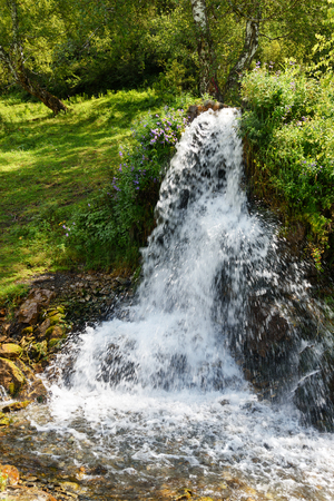 Waterfalls Ary-tour near village Yelanda. Altai Republic, Siberia. Russia