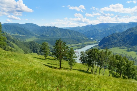 View of Katun river from mountain Camel near Chemal. Altai Republic, Siberia. Russia