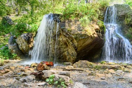 Waterfalls Che-Chkysh in the gorge, Yelanda. Altai Republic, Siberia. Russia