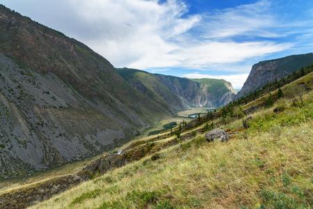 View on valley of Chulyshman river. Altai Republic, Siberia. Russia