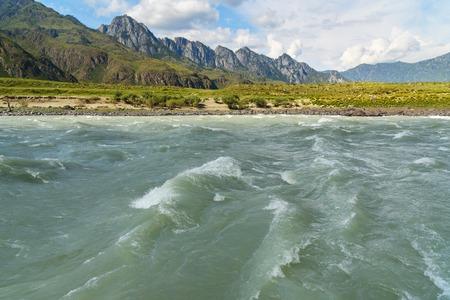 View of Katun river near Yelanda village. Altai Republic, Siberia. Russia Stock Photo