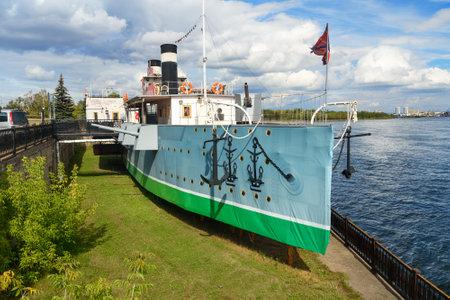 Krasnoyarsk, Russia- August 9, 2017: Steamship museum St. Nikolay on Yenisei river. It was made in 1886 in Tymen. In 1891 the tsar Nikolay made a short voyage. In 1897 Lenin traveled from Krasnoyarsk