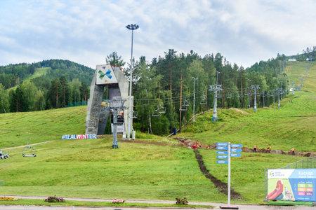 Krasnoyarsk, Russia- August 10, 2017: Chairlift in Krasnoyarsk fun park Beaver Log. The complex is located in a picturesque area of the city of Krasnoyarsk, near the river Bazaikha