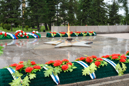 Eternal flame. Memorial to therussia fallen of the Second World War is located in front of the Irkutsk. Editorial