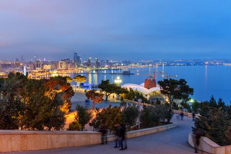Night view of the city and Baku Seaside boulevard. Baku. Azerbaijan Stock fotó - 102347884